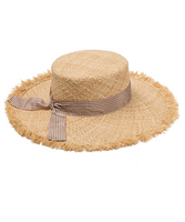Straw Hat with Checkered Ribbon