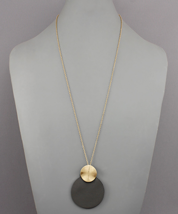 Gold Circle & Faux Leather Circle Necklace in Grey