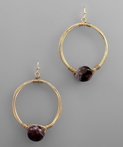 Hoop Wire & Stone Earrings in Plum