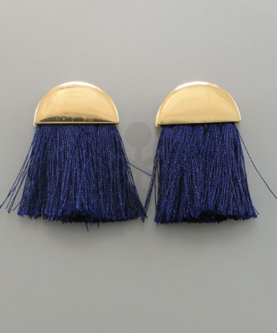 Half Circle & Fringe Earrings in Navy
