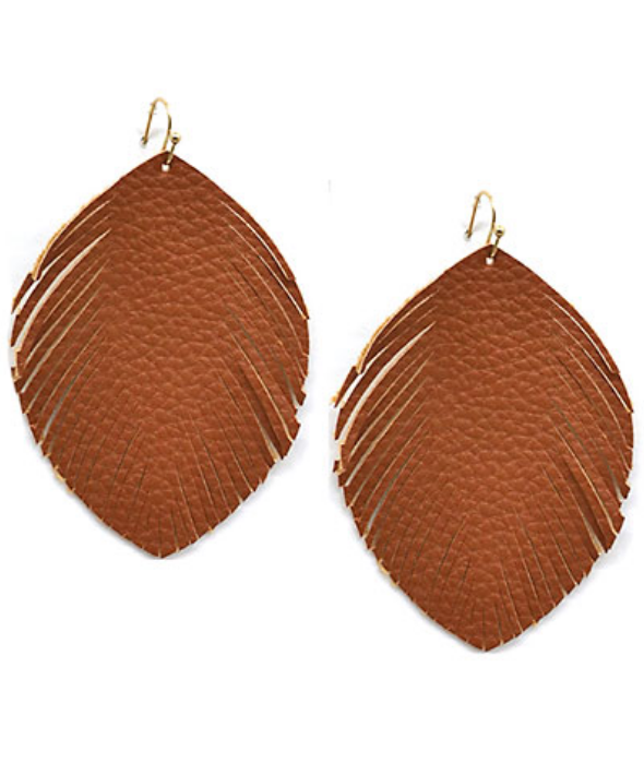 Feather Shape Faux Leather Earrings in Brown