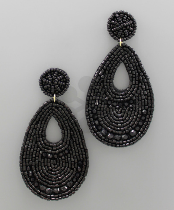 Bead & Felt Statement Earrings- Black