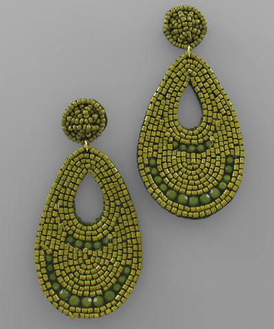 Bead & Felt Statement Earrings- Olive