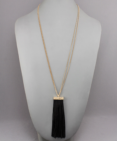 Leather Strip & Bar Necklace