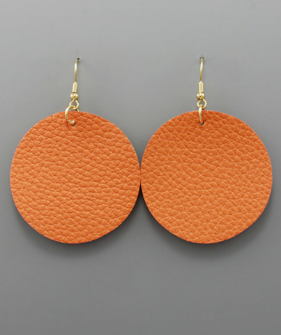 Round Faux Leather Earrings in Orange