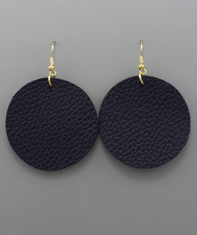 Round Faux Leather Earrings in Navy