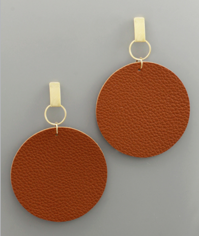 Post Faux Circle Leather Earrings in Tan