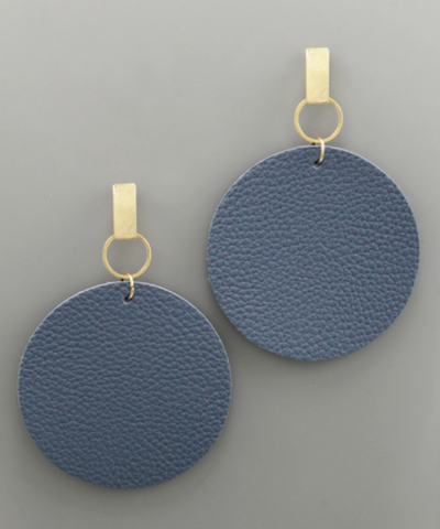 Post Faux Circle Leather Earrings in Steel Blue