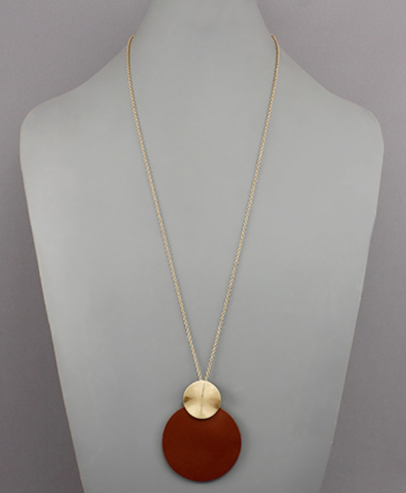 Gold Circle & Faux Leather Circle Necklace in Tan
