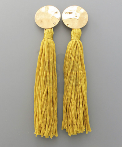 Stud & Long Tassel Earrings in Mustard
