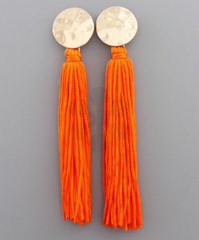 Stud & Long Tassel Earrings in Orange