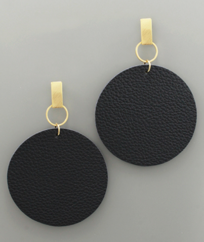 Post Faux Circle Leather Earrings in Navy