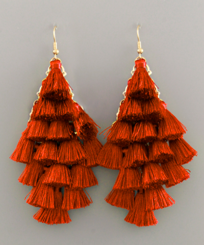 Multi Tassel Rust Earrings