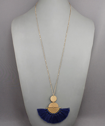 Circle, Half Circles & Fringe Necklace in Navy