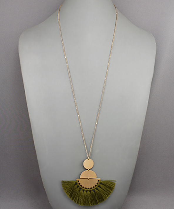 Circle, Half Circles & Fringe Necklace in Olive