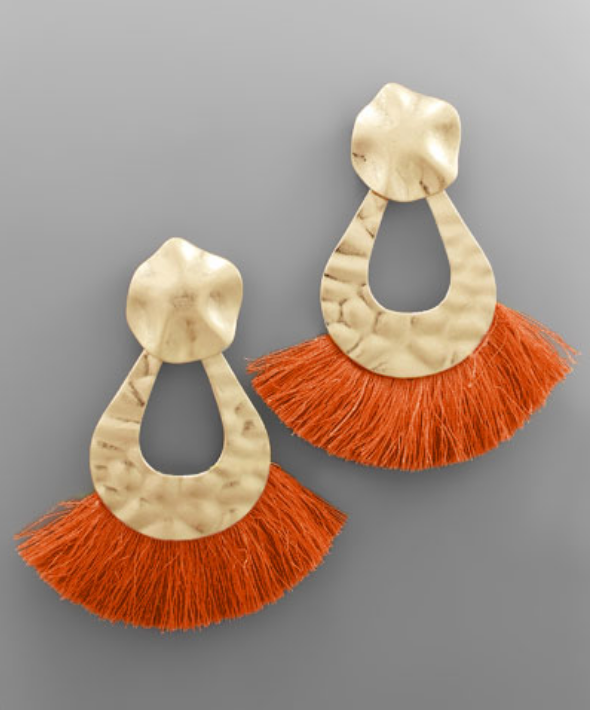 Oversized Statement Earrings in Orange