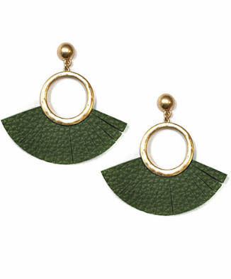 Stud Circle & Leather Fringe Earrings in Olive