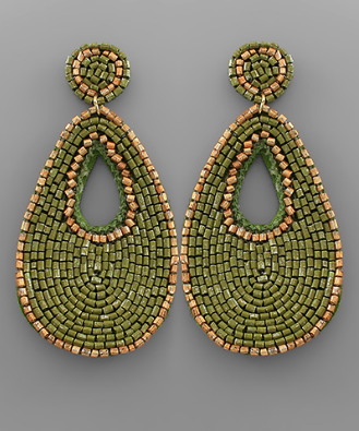 Bead & Gold Outline Earrings in Olive