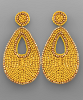 Bead & Gold Outline Earrings in Mustard
