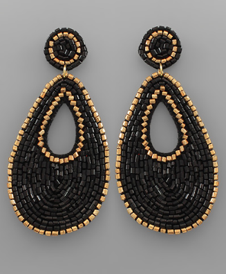 Bead & Gold Outline Earrings in Black