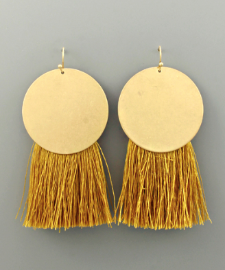 Solid Gold Circle & Fringe Earrings in Mustard