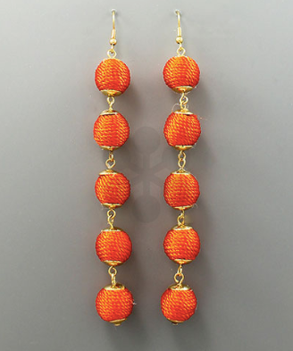 Long Multi Round Earrings in Orange