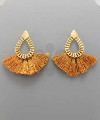 Textured Teardrop Shape Earrings with Fringe in Mustard
