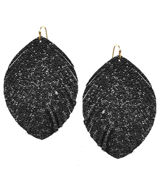 Feather Shape Faux Leather Earrings in Textured Black