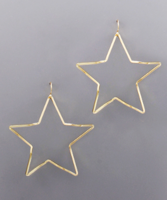 Curved Star Earrings in Gold