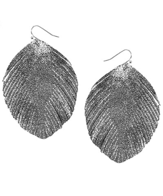 Feather Shape Faux Leather Earrings in Hematite/Rhodium