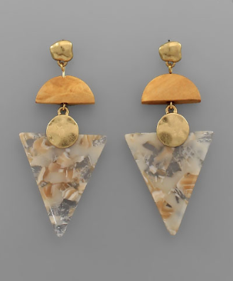 Gold Stud, Wooden & Triangle Acrylic Earrings in Natural