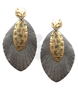 Gold Stud, Oval & Feather Statement Earrings in Hermatite
