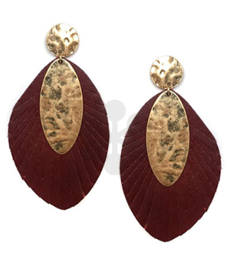 Gold Stud, Oval & Feather Statement Earrings in Burgundy