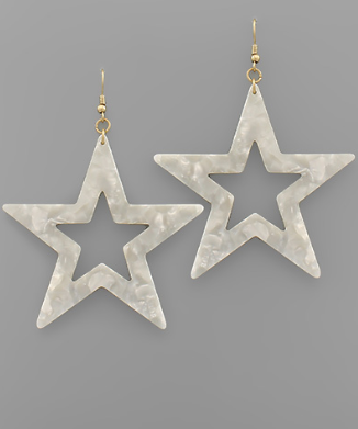 Star Dangle Earrings in White