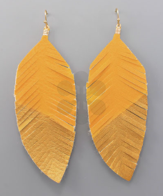 Two Tone Leather Feather Earrings in Yellow/Gold