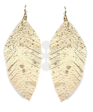Faux Leather Feather Earrings in Ivory