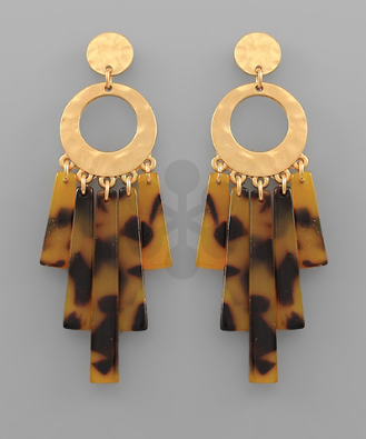 Acrylic Bar Dangle & Circle Earrings in Tortoise