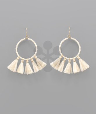 Bead & Raffie Earrings in Cream