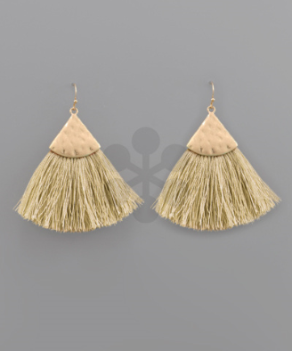 Triangle & Tassel Earrings in Lt Yellow
