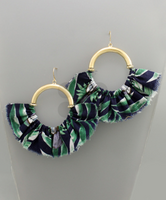 Semi-Hoop & Fabric Statement Earrings in Green Multi