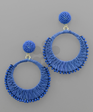 Raffia Wrapped Circle Earrings in Royal