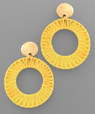 Raffia Circle Drop Earrings in Yellow