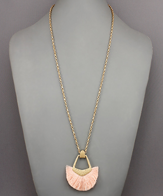 Door Knocker Tassel Necklace in Blush
