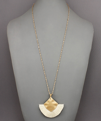 Square Tassel Necklace in Ivory