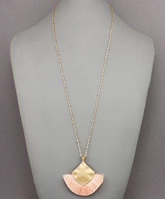 Square Tassel Necklace in Blush