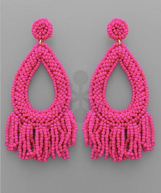 Seed Bead Fringe Teardrop Earrings in Fuschia