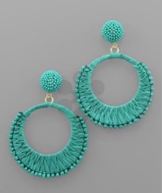 Raffia Wrapped Circle Earrings in Teal