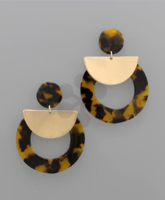 Wedge & Acrylic Earrings in Tortoise