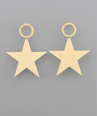 Wood Star & Circle Earrings in Ivory
