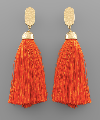 Tassel Drop Earrings in Orange